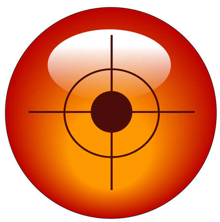 red bullseye or target web button or icon - vector Vector