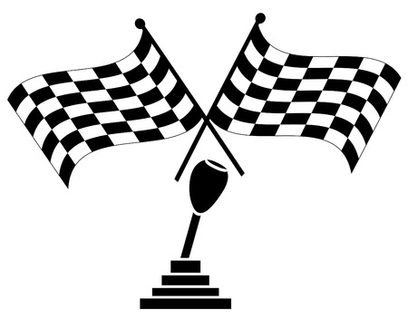 rallying: caja de cambios con dos banderas checkered - ganador de la carrera de coches - vector