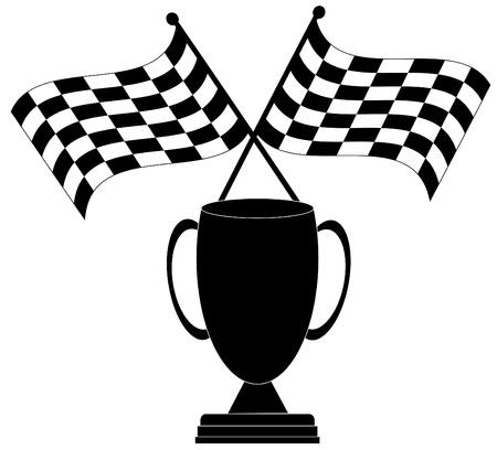 drag race: checkered cruzaron dos banderas con el trofeo - el ganador - vector