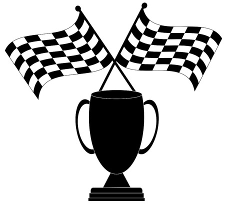 winning flag: two crossed checkered flags with trophy - winner - vector