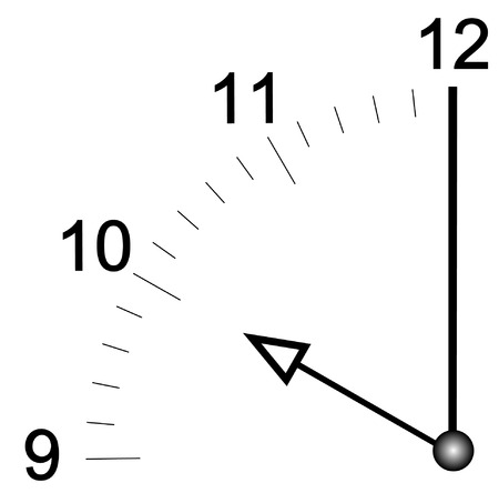 oclock: close up of clock face set at ten oclock - vector