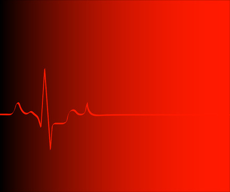 heart attack: heart rhythm on gradient red and black background - vector