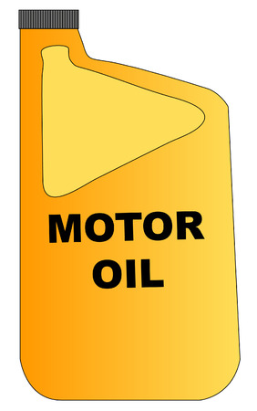 lubricant: yellow plastic bottle of motor oil with grey lid - vector Illustration