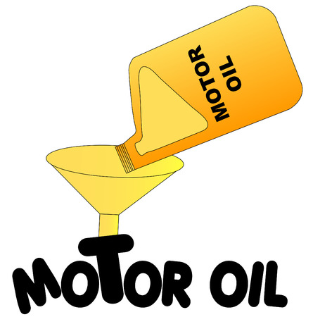 oil change: oil being poured into funnel with the words motor oil - vector
