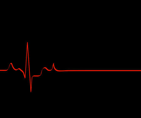 catastrophic: red flat lining heart rhythm on black background - death - vector