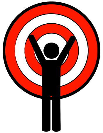 woman arms up: stick man with arms up and target head - vector