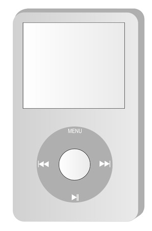 portable audio: grey mp3 portable style music player - vector