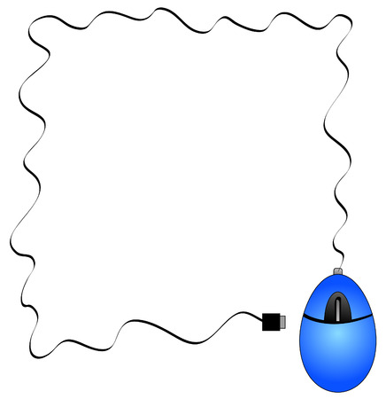 http: blue computer mouse background with usb connection - vector