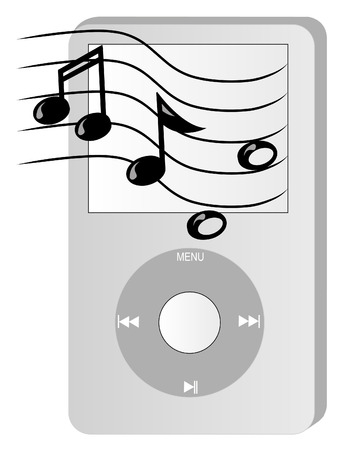 hifi: grey portable mp3 music player with musical notes coming out of it - vector