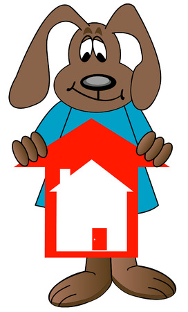 house prices: cartoon dog holding red arrow with house - rising prices in housing market - vector
