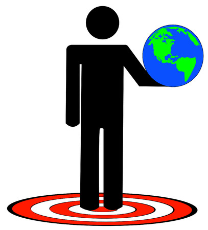 optimist: stick man or figure holding up earth standing on target - vector