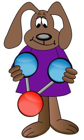 cartoon dog holding colorful water molecule - vector Vector