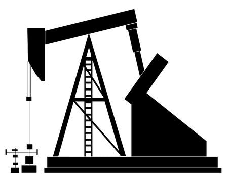 yacimiento petrolero: negro silueta de una bomba de aceite - ilustraci�n vectorial