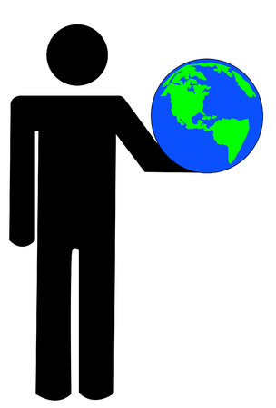 stick man or figure holding up globe - vector Vector