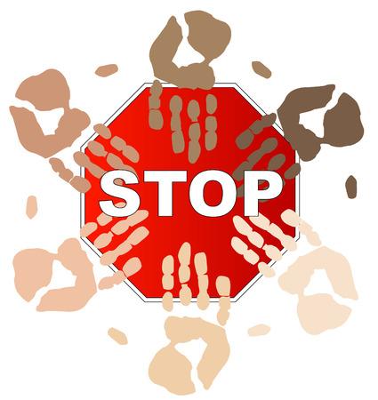 ethnic hands on top of stop sign - concept - stop racism - vector Vector