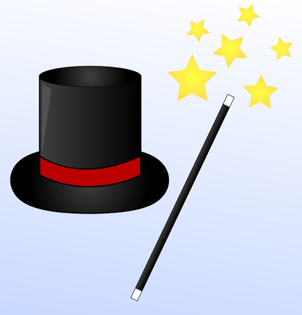 stage costume: black magic hat and wand on blue background with stars - vector Illustration