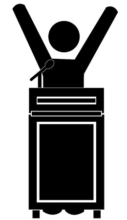 elect: stick man figure celebrating success at the podium - vector Illustration