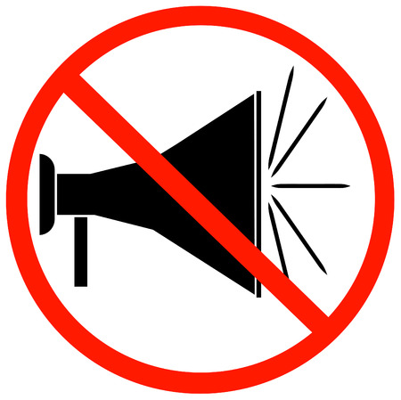not allowed: megaphone or bullhorn with red not allowed sign or symbol - vector