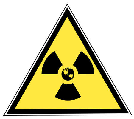 infectious waste: radio active symbol with globe center on yellow triangle sign - vector