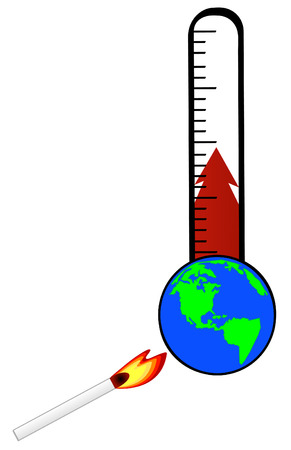 warmed: thermometer being warmed by match and heating up with globe  - global warming - vector Illustration