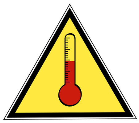 yellow and black triangle rising temperature sign -  vector Illustration