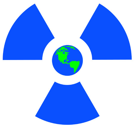 disastrous: blue radio active symbol with earth or globe center - vector