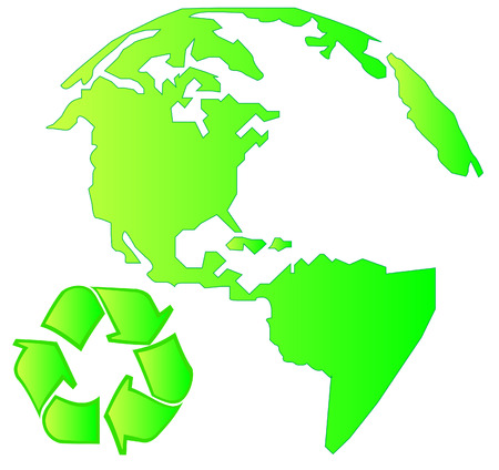 recycle symbol vector: north america land mass with recycle symbol - vector Illustration