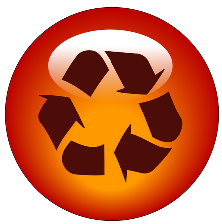 environmental awareness: red reduce reuse recycle web button or icon - vector