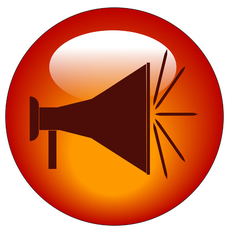 amplify: red bullhorn or megaphone web button or icon - vector Illustration