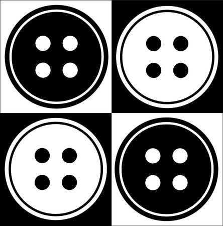 four objects: four hole button abstract in black and white - vector Illustration