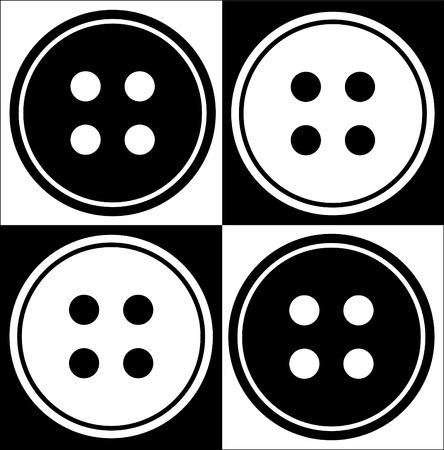 knutsel spullen: vier holes knop abstract in zwart-wit - vector