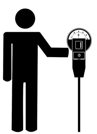 fined: stick man or figure putting money in the parking meter - vector