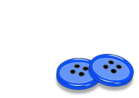 durable: two blue four-holed buttons with shadow - illustration Stock Photo