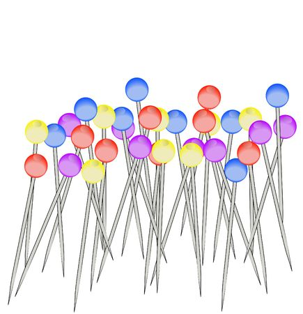 hem: selection of many colorful sewing pins background - illustration