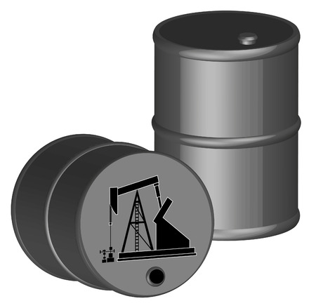 Oil and gas: two oil barrels with oil pump illustration - vector