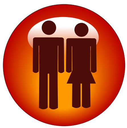 red stick figure man and woman or couple web button or icon - vector Stock Vector - 3103688