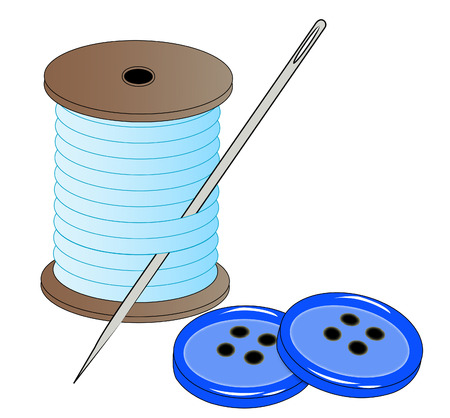 blue button: blue thread with needle and two blue buttons - vector Illustration
