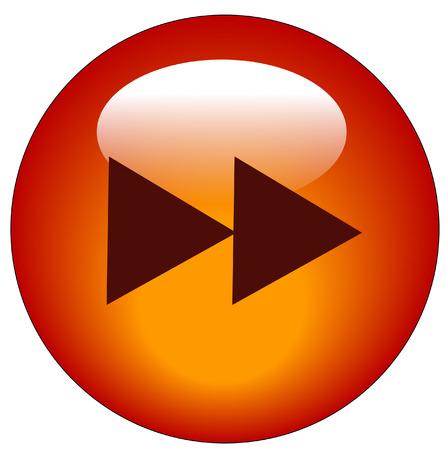fast forward: rosso avanti veloce web pulsante o icona - vettore