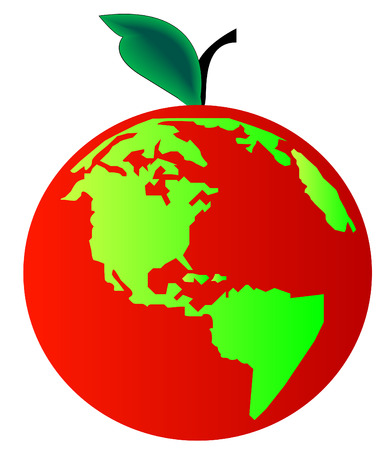 beginnings: earth or globe with leaf and stem - concept apple earth or beginning of creation Illustration