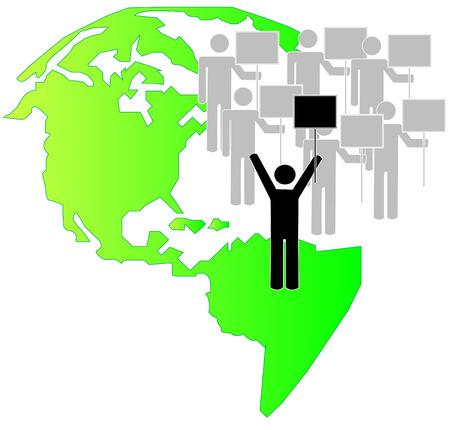teamleider: Stick Figures met teamleider stakers met aarde achtergrond - vector