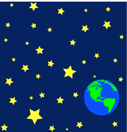 stars: cartoon of earth in outerspace or orbit with stars - vector