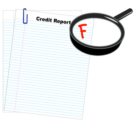 credit report: credit report with magnifying glass showing report marked with an F - vector