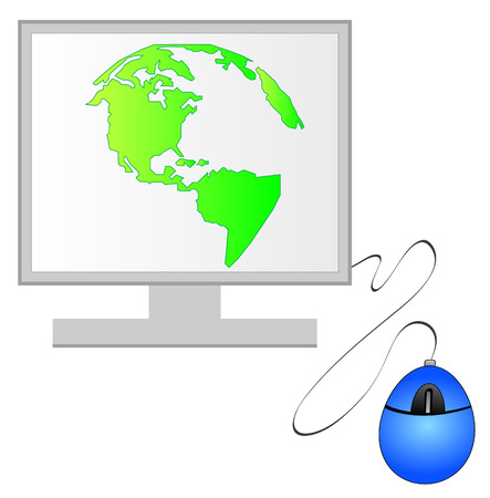 north and south america on computer monitor with mouse - vector Vector