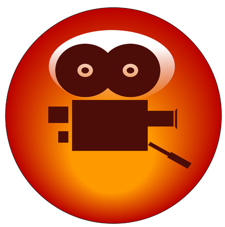 capturing: red movie camera web button or icon - vector Illustration