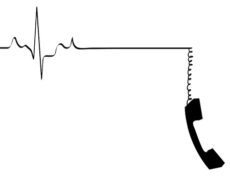 handset: phone line rhythm going dead with dangling phone handset - vector