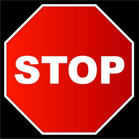 octagonal: red stop sign against a black background - vector Illustration
