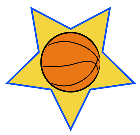 allstar: basketball illustration with yellow star background - sports concept - vector