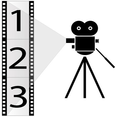 camera film: numbered film strip and movie camera with lights - vector
