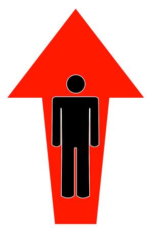 pointing up: stick uomo o una figura con freccia rivolta verso l'alto - vector