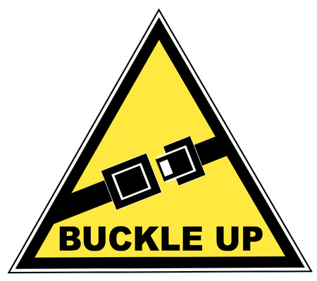 kemer: yellow seatbelt sign with words buckle up - vector Çizim